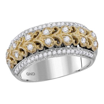 14kt Two-tone White Gold Womens Round Diamond Filigree Band Ring 1/2 Cttw