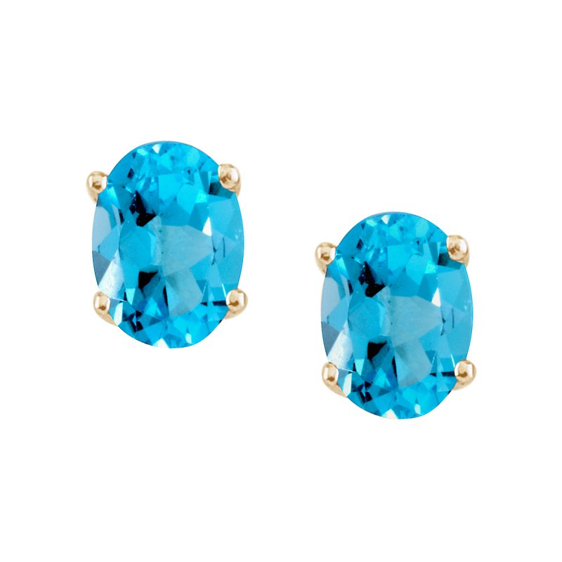 14k Yellow Gold Large 6x8 mm Oval Blue Topaz Studs