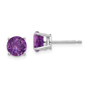 14k White Gold 6mm Amethyst Earrings