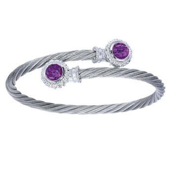 925 Sterling Silver & Stainless Steel Twisted Amethyst Bypass Bangle