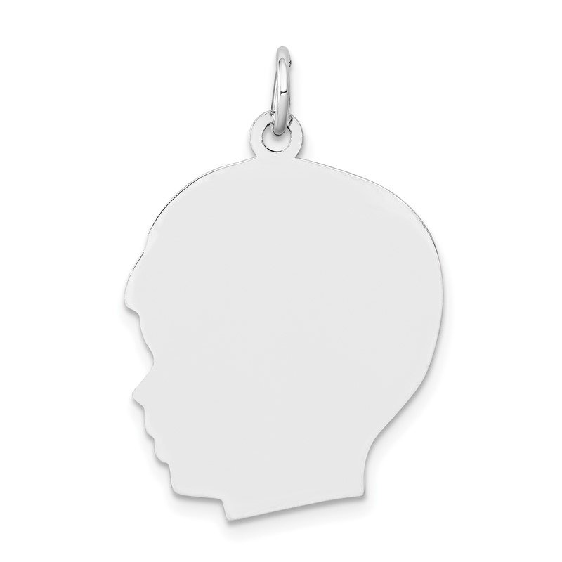 Fine Jewelry by JBD 14k White Plain Large.013 Depth Facing Left Engravable Boy Charm