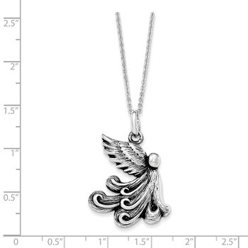 Sterling Silver Antiqued My Chemo Angel 18in. Necklace