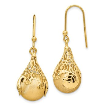 Leslie's 14k Polished and Satin D/CTeardrop Shepherd Hook Earrings