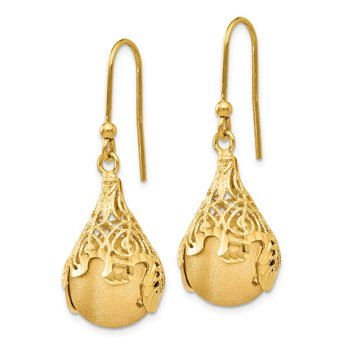 Leslie's 14K Polished and Satin D/C Teardrop Shepherd Hook Earrings