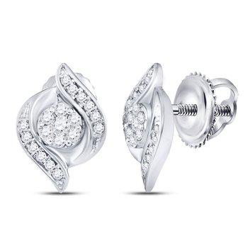 14kt White Gold Womens Round Diamond Flower Cluster Screwback Stud Earrings 1/4 Cttw