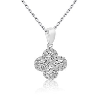 14k White Gold Diamond Clover Pendant (0.37 CT)