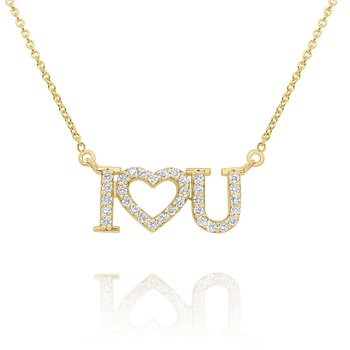 14k Gold and Diamond 'I Love You' Necklace