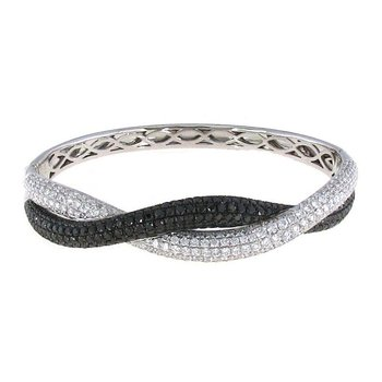 18KT GOLD BLACK AND WHITE DIAMOND TWIST BANGLE