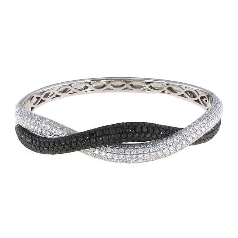 Roberto Coin 18Kt Gold Black And White Diamond Twist Bangle