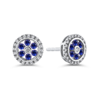 Essentials 10K White Gold 1/5 ct Diamond with 1/4 ct Sapphire Double Halo Stud Earring