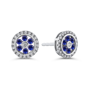 10K White Gold 1/5 ct Diamond with 1/4 ct Sapphire Double Halo Stud Earring