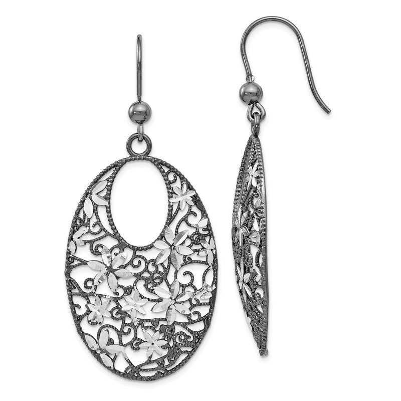 Leslie's Leslie's Sterling Silver and Ruthenium-plated Shepherd Hook Earrings