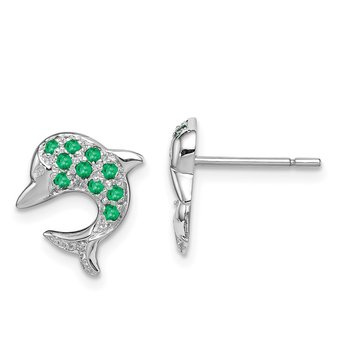 Sterling Silver Rhodium Emerald & Diamond Dolphin Post Earrings