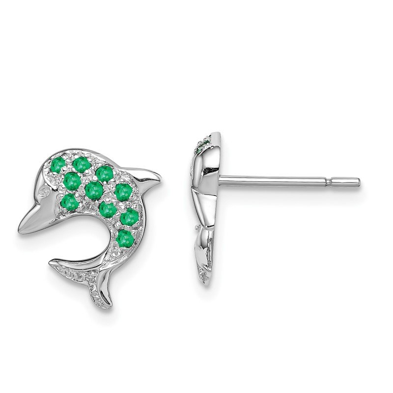 Quality Gold Sterling Silver Rhodium Emerald & Diamond Dolphin Post Earrings