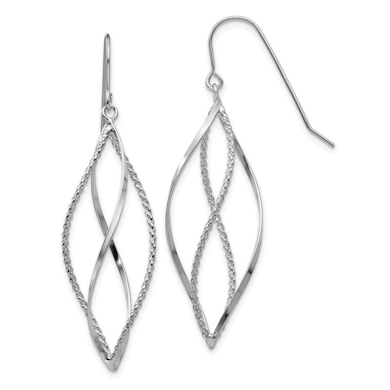 Quality Gold 14k White Gold Polished and Textured Twisted Dangle Earrings