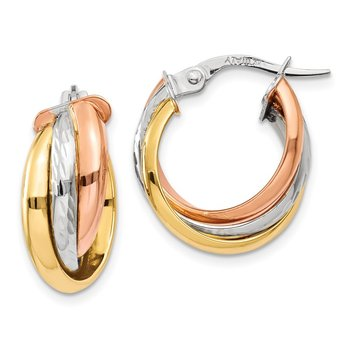 14K Tri-color Polished Post Hoop Earring