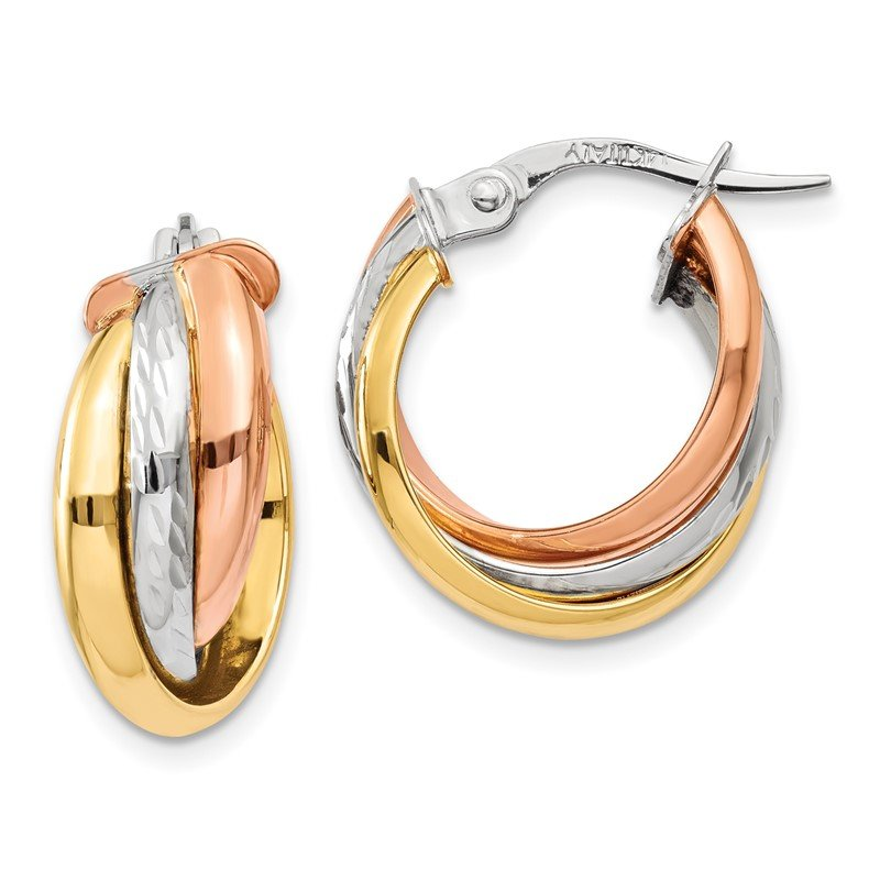 Quality Gold 14K Tri-color Polished Post Hoop Earring