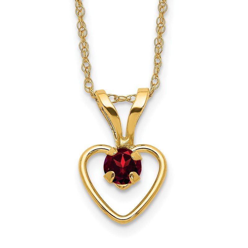 Quality Gold 14k Madi K 3mm Garnet Heart Birthstone Necklace