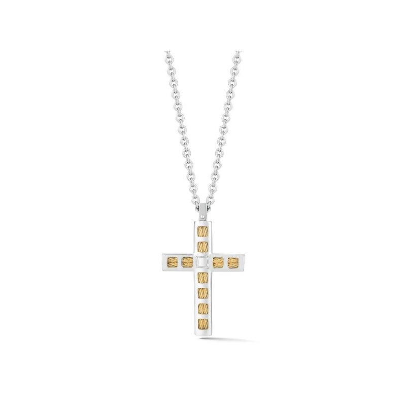 ALOR Yellow Cable & Steel Cross Necklace on Grey Chain with 18kt Yellow Gold