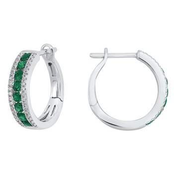 3 Row Channel Set Emerald Earrings in 14K White Gold (1/5 ct. tw.)