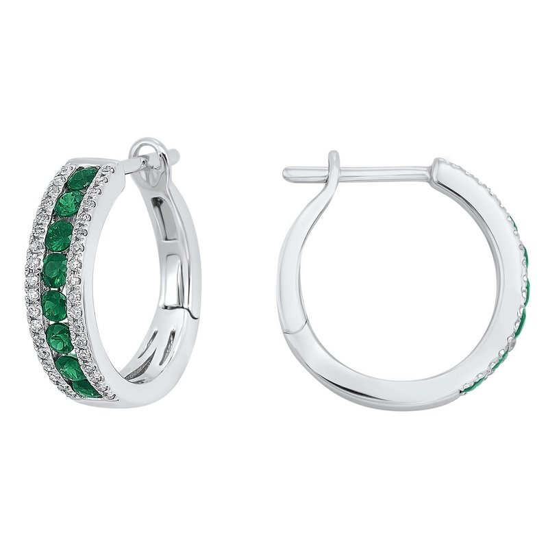 Gems One 3 Row Channel Set Emerald Earrings in 14K White Gold (1/5 ct. tw.)