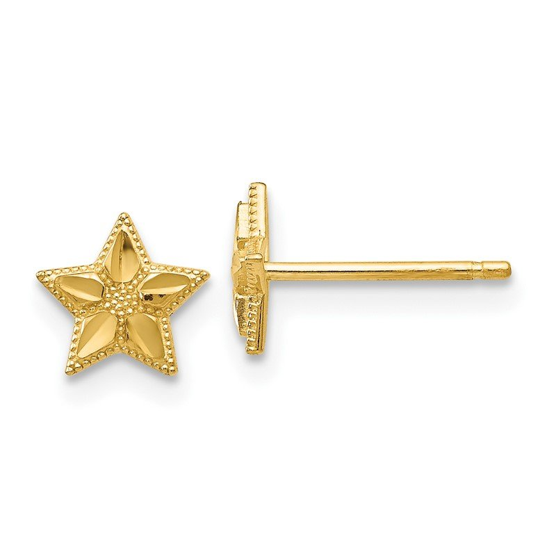 Quality Gold 14k Polished and D/C Star Post Earrings