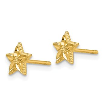 14k Polished and D/C Star Post Earrings