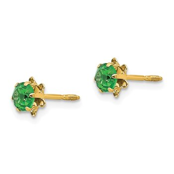 14k Madi K 4mm Synthetic (May) Screwback Earrings