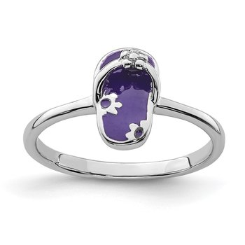 Sterling Silver Rhodium-plated Childs Enameled Purple Flip Flop Ring