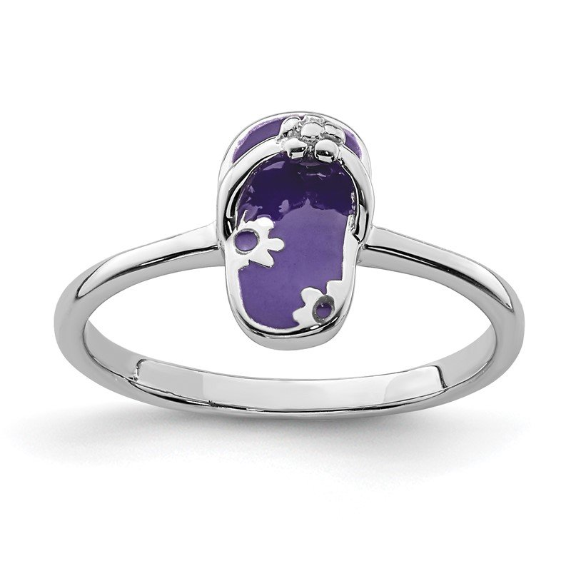 Quality Gold Sterling Silver Rhodium-plated Childs Enameled Purple Flip Flop Ring