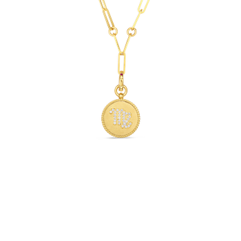 18K DIAMOND VIRGO ZODIAC MEDALLION PENDANT W. COIN EDGE ON PAPER CLIP CHAIN