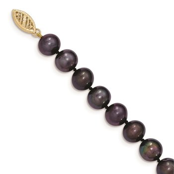 14k 8-9mm Black Near Round Freshwater Cultured Pearl Necklace