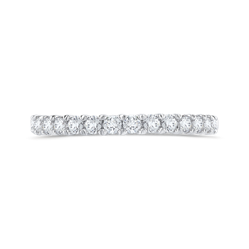 Round Cut Diamond Half-Eternity Wedding Band In 14K White Gold