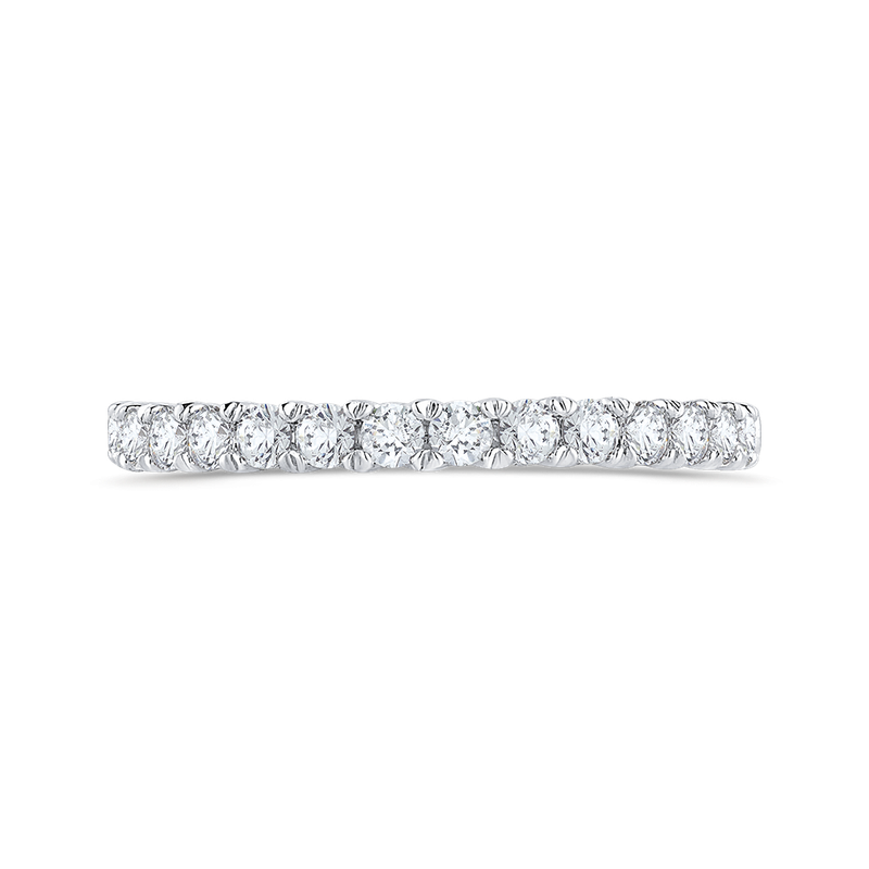 Carizza Round Cut Diamond Half-Eternity Wedding Band In 14K White Gold