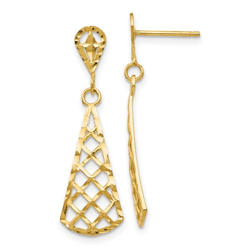 Quality Gold 14K Diamond-Cut Inverted Fan Dangle Post Earring