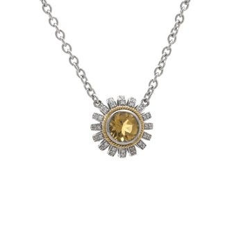 18kt & Sterling Silver Citrine Diamond Necklace