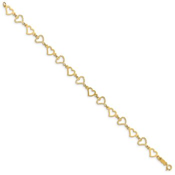 14K Flat Diamond Cut Open Hearts Bracelet