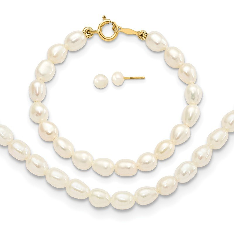 Quality Gold 14k White FW Cultured Pearl 12 Necklace, 4 Bracelet & Earring Set