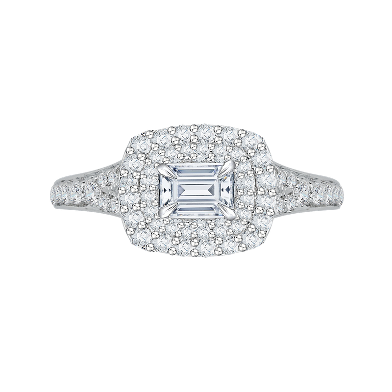 Carizza 14K White Gold Emerald Cut Diamond Halo Engagement Ring with Split Shank (Semi-Mount)