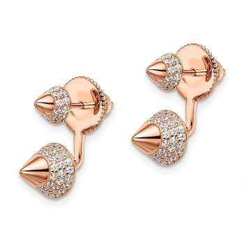 Sterling Silver Rose Gold-plated CZ Convertible Back Earrings