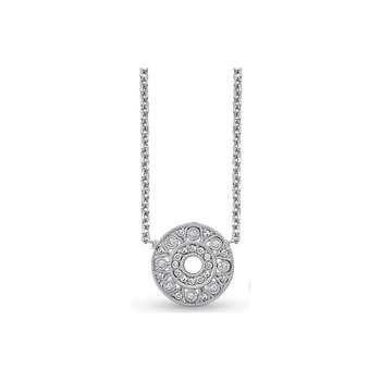 Diamond Small Filigree Necklace in 14k White Gold with 28 Diamonds weighing .14ct tw.