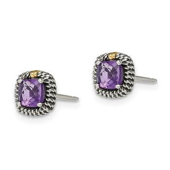 Sterling Silver w/14k Square Cushion Amethyst Post Earrings