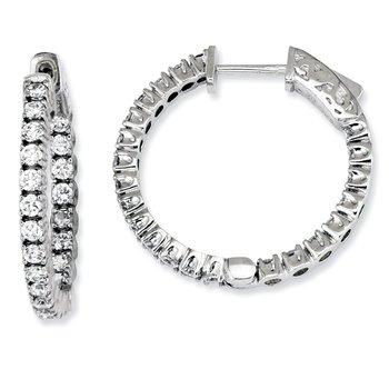 Sterling Silver CZ 44 Stones In and Out Round Hoop Earrings