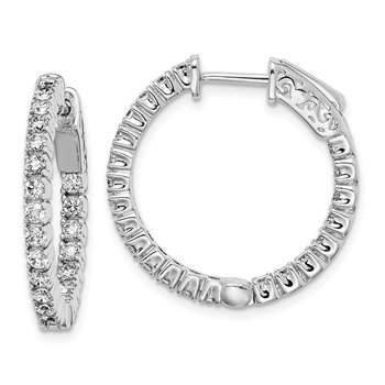 Sterling Silver CZ 44 Stones In and Out Round Hinged Hoop Earrings