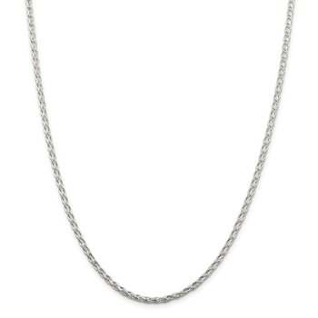 Sterling Silver 2.85mm Diamond-cut Round Spiga Chain