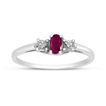 14k White Gold Oval Ruby And Diamond Ring