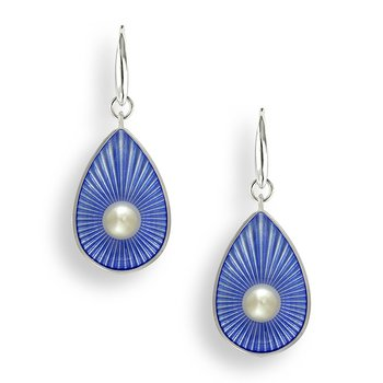Blue Teardrop Wire Earrings.Sterling Silver-Freshwater Pearls