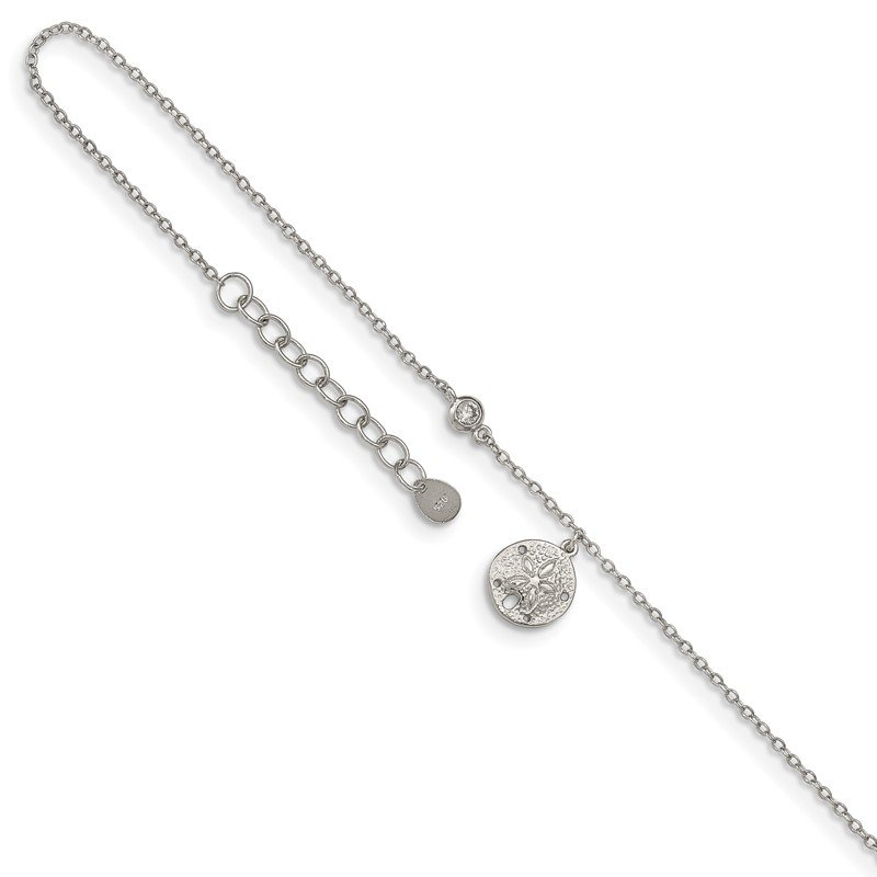 Quality Gold Sterling Silver Rhodium-plated CZ and Sand Dollar 9in Plus 1in Ext. Anklet
