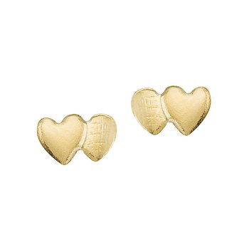 14K Yellow Gold Baby Double Heart Screwback Earrings