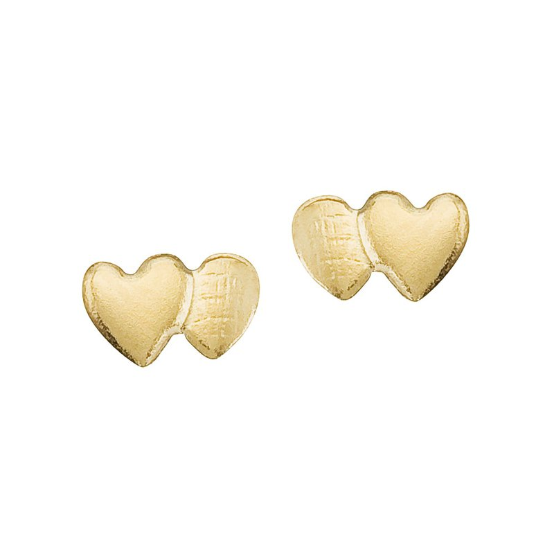 Color Merchants 14K Yellow Gold Baby Double Heart Screwback Earrings